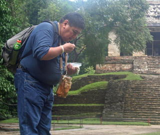 Hopi Alvin Taylor making an offering at Palenque