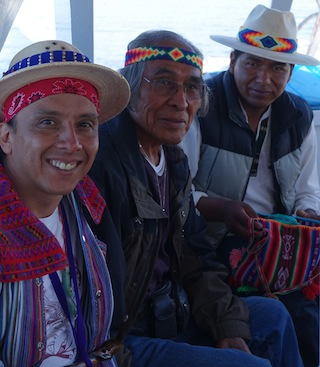 Apab'yan Tew (left) and Radford Quamahongnewa (center) with Aymara leader Roger Choque